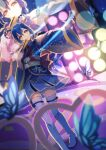 1girl angelic_angel armpits bangs blue_hair boots braid bug butterfly commentary_request concert fan folding_fan hair_between_eyes hair_rings highres insect japanese_clothes kimono kimono_skirt light long_hair looking_at_viewer love_live! love_live!_school_idol_project love_live!_the_school_idol_movie macken666 outstretched_arm solo sonoda_umi spotlight stage stage_lights swept_bangs thigh-highs thigh_boots twin_braids white_footwear yellow_eyes