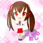 1girl black_bow black_footwear bow chibi headphones japanese japanese_clothes naomi_hoshi orange_hair original pink_legwear red_eyes red_skirt sailor_senshi_uniform skirt smile