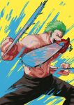 1boy abs alternate_weapon black_pants chainsaw chainsaw_man commentary crossover denji_(chainsaw_man) english_commentary green_hair highres holding holding_chainsaw holding_weapon legs_apart long_sideburns male_focus muscular muscular_male one_piece pants pectorals roronoa_zoro shirtless short_hair sideburns solo stomach tina_fate triple_wielding weapon