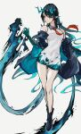 1girl aqua_hair arknights bare_legs blue_footwear blue_hair blue_jacket blue_skin boots breasts chinese_commentary collared_dress colored_skin dragon_horns dress dusk_(arknights) earrings eyebrows_visible_through_hair full_body hair_between_eyes horns iowae jacket jewelry long_hair medium_breasts multicolored multicolored_hair multicolored_skin necktie off_shoulder open_clothes open_jacket orange_eyes originium_arts_(arknights) pointy_ears red_neckwear short_dress simple_background sleeveless sleeveless_dress solo standing tassel tassel_earrings two-tone_hair water white_background white_dress wing_collar