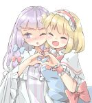 2girls :o alice_margatroid arnest bangs blonde_hair blue_bow blue_dress blunt_bangs blush bob_cut bow bowtie bright_pupils capelet commentary_request crescent crescent_hair_ornament dress embarrassed frilled_hairband frilled_sleeves frills furrowed_eyebrows hair_bow hair_ornament hairband happy heart heart_hands heart_hands_duo highres lolita_hairband long_hair long_sleeves looking_away looking_to_the_side multiple_girls no_hat no_headwear nose_blush one_eye_closed open_mouth pajamas patchouli_knowledge purple_dress purple_hair red_bow red_hairband red_neckwear red_sash sash shiny shiny_hair short_hair sideways_glance simple_background smile striped striped_dress touhou vertical-striped_dress vertical_stripes violet_eyes white_background white_capelet white_dress white_pajamas white_pupils wide_sleeves wing_collar wrist_cuffs
