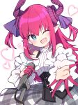 1girl ;d beckoning blue_eyes corset detached_sleeves dragon_horns elizabeth_bathory_(fate) elizabeth_bathory_(fate)_(all) fang fate/extra fate/extra_ccc fate/grand_order fate_(series) grey_skirt heart holding holding_microphone horns idol long_hair looking_at_viewer microphone one_eye_closed open_mouth pink_hair plaid plaid_skirt pointy_ears rabiiandrain reaching_out sidelocks simple_background skirt sleeveless smile solo two_side_up white_background