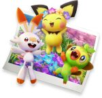3d ^_^ animal_focus artist_request blue_flower blush_stickers brown_eyes buck_teeth closed_eyes fangs field flower flower_field flower_wreath full_body gen_2_pokemon gen_8_pokemon grass grookey happy jumping new_pokemon_snap no_humans open_mouth orange_flower photo_(object) pichu pink_flower pokemon pokemon_(game) purple_flower red_eyes scorbunny smile transparent_background