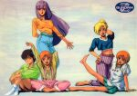 1980s_(style) 5girls aqua_skirt arm_behind_back arm_behind_head arms_up bangs barefoot blonde_hair bow brown_hair casual clothes_writing cropped_shirt denim elle_vianno elpeo_puru gundam gundam_zz hair_bow hand_on_hip hands_together high_ponytail highres jeans kneeling knees_up leg_up leina_ashta logo long_hair long_sleeves looking_at_viewer midriff miniskirt multiple_girls navel no_shoes official_art one_eye_closed open_mouth orange_hair pants pleated_skirt purple_hair puru_two retro_artstyle roux_louka scan shirt short_sleeves shorts siblings sitting skirt sleeves_past_elbows smile standing striped striped_shirt suspenders t-shirt twins