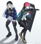 2girls absurdres assault_rifle bangs beanie black_footwear black_headwear black_legwear black_shirt black_shorts blue_hair blue_jacket blunt_bangs blush brown_footwear brown_gloves closed_mouth full_body girls_frontline gloves green_eyes green_jacket grey_gloves gun h&k_hk416 hair_ornament hat headset highres hk416_(girls_frontline) jacket knee_pads long_hair long_sleeves looking_at_viewer multicolored_hair multiple_girls original pantyhose pink_hair pleated_skirt rifle rynzfrancis shield shirt shoes short_shorts shorts simple_background skirt standing thigh_pouch thigh_strap weapon white_background white_shirt white_skirt