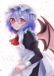 1girl akainoya_rayo apron ascot bat_wings black_dress bow breasts brooch cravat dress frilled_apron frills glasses hat hat_ribbon highres jewelry light_purple_hair maid mob_cap puffy_sleeves red_bow red_eyes red_ribbon remilia_scarlet ribbon short_hair small_breasts touhou valentine wings wrist_cuffs