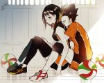 1boy 1girl ball bare_arms bare_shoulders black_hair black_legwear blush breasts closed_mouth from_side haikyuu!! hetero hug hug_from_behind indoors knee_pads medium_hair multicolored_hair nishinoya_yuu rimless_eyewear shimizu_kiyoko shoes short_shorts shorts sitting sneakers sportswear streaked_hair two-tone_hair volleyball_uniform yasai_(getsu)