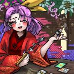 2girls bangs blush card highres holding holding_pipe howhow_notei japanese_clothes kimono kiseru komakusa_sannyo long_hair looking_at_another looking_at_viewer money multiple_girls nail_polish open_mouth pipe purple_hair purple_nails red_eyes red_kimono red_robe ribbon solo solo_focus table touhou yellow_ribbon yorigami_jo'on