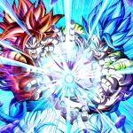 2boys biceps blue_eyes blue_hair dragon_ball dragon_ball_gt dragon_ball_super dragon_ball_super_broly energy_beam fusion gogeta highres incoming_attack kamehameha looking_at_viewer metamoran_vest mocky_art monkey_boy multiple_boys muscular muscular_male open_mouth red_fur redhead saiyan screaming super_saiyan super_saiyan_4 super_saiyan_blue teeth tongue