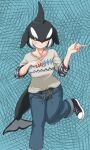 1girl alternate_costume bangs black_hair brown_eyes casual closed_mouth collarbone commentary_request contemporary dolphin_tail dorsal_fin foot_up hair_over_one_eye hands_up head_fins highres kemono_friends kyonin_dofu medium_hair multicolored_hair orca_(kemono_friends) pants pointing shoes smile solo standing standing_on_one_leg sweatshirt tail two-tone_hair white_hair