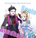 1boy 1girl :d anniversary bangs black_gloves black_hair black_shirt blonde_hair bridal_gauntlets cham-p character_name collarbone collared_shirt danganronpa_(series) danganronpa_10th_anniversary_costume danganronpa_2:_goodbye_despair dress earrings frills gloves gradient gradient_background grey_background grey_eyes grey_hair hamster hands_up heterochromia highres jewelry jum-p long_hair looking_at_viewer maga-g multicolored_hair necktie official_alternate_costume open_mouth pale_skin pants red_eyes scarf shirt short_hair silvercandy_gum smile sonia_nevermind squinting striped striped_jacket striped_pants sun-d tanaka_gandamu tie_clip zzz