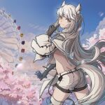 1girl animal_ear_fluff animal_ears arknights ass back belt black_gloves blue_sky cherry_blossoms chinese_commentary closed_mouth clouds cloudy_sky cowboy_shot day eyebrows_visible_through_hair ferris_wheel finger_to_mouth gloves highres holding horse_ears horse_girl horse_tail index_finger_raised iowae jacket long_hair looking_at_viewer midriff orange_eyes outdoors platinum_(arknights) ponytail short_shorts shorts silver_hair sky smile solo tail thigh-highs thighs ticket tree white_belt white_jacket white_shorts zettai_ryouiki zipper