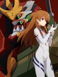 1girl bangs blue_eyes bodysuit brown_hair closed_mouth commentary covered_navel eva_02 evangelion:_3.0+1.0_thrice_upon_a_time eyepatch floating_hair hair_between_eyes hands_up highres interface_headset long_hair mashita_(candy_apricot) mecha neon_genesis_evangelion number plugsuit rebuild_of_evangelion red_background shikinami_asuka_langley simple_background smile souryuu_asuka_langley standing white_bodysuit