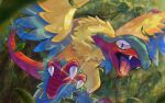 archeops commentary_request fangs gen_5_pokemon glint leaf leaves_in_wind looking_at_viewer no_humans open_mouth pokemon pokemon_(creature) talons tongue urufin_(wolf_v3ewc)