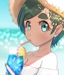 1girl absurdres aqua_eyes bare_shoulders blue_nails blush cup drinking drinking_straw earrings eyebrows_visible_through_hair futomayu-chan_(sinohira_rin) green_hair hat highres jewelry looking_at_viewer off_shoulder original shadow short_hair sinohira_rin solo straw_hat upper_body