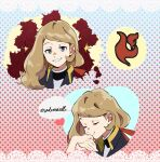 1girl alternate_costume closed_eyes closed_mouth commentary eyebrows_visible_through_hair eyelashes grey_eyes hair_behind_ear hair_ribbon heart holding_hand light_brown_hair long_hair looking_at_viewer multiple_views pokemon pokemon_(game) pokemon_xy red_ribbon ribbon serena_(pokemon) sheery_sbox smile sparkle tailcoat