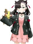 1girl :t arm_at_side asymmetrical_bangs bangs black_choker black_jacket black_nails blush brown_hair choker closed_mouth dress earrings eyelashes food food_on_face gen_8_pokemon green_eyes hair_ribbon highres jacket jewelry marnie_(pokemon) morpeko morpeko_(full) nail_polish open_clothes open_jacket pink_dress pokemon pokemon_(creature) pokemon_(game) pokemon_on_arm pokemon_swsh red_ribbon ribbon setta_shu simple_background white_background