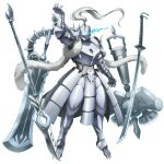 armor artist_request blue_eyes dragon_horns fangs full_armor full_body game_cg glowing glowing_eyes hammer hand_up helmet horns katana knight lance overlord_(maruyama) platinum_dragon_lord polearm sword tattoo telekinesis weapon white_hair