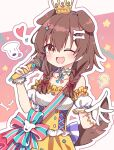 1girl :3 ;d animal_ears bangs bare_shoulders blush bone_hair_ornament braid brown_eyes brown_hair choker corset crown detached_sleeves dog_ears dog_girl dog_tail elbow_gloves fang gloves hair_between_eyes hair_ornament hairclip holding holding_microphone hololive inugami_korone long_hair looking_at_viewer low_twin_braids microphone music official_alternate_costume one_eye_closed open_mouth puffy_short_sleeves puffy_sleeves rabiiandrain short_sleeves singing skirt smile solo tail twin_braids underbust virtual_youtuber white_choker yellow_skirt
