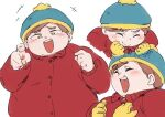 1boy be_(ronironibebe) beanie blush brown_hair closed_eyes eric_cartman gloves hat jacket open_mouth red_jacket short_hair smirk solo south_park