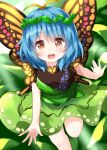 1girl antennae bangs blue_hair butterfly_wings dress eternity_larva eyebrows_visible_through_hair green_dress hair_ornament highres leaf leaf_background leaf_hair_ornament light_rays looking_at_viewer open_mouth orange_eyes ruu_(tksymkw) short_hair short_sleeves single_strap solo touhou wings yellow_wings