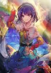 1girl absurdres bangs blue_hair cape dress highres long_sleeves multicolored multicolored_cape multicolored_clothes multicolored_dress multicolored_hairband pointing pointing_down pointing_up rainbow_gradient red_button shometsu-kei_no_teruru short_hair sky_print smile solo tenkyuu_chimata touhou two-sided_cape two-sided_fabric violet_eyes white_cape zipper