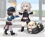 3girls animal_ears bag blonde_hair bound bound_wrists brown_hair chibi crying duffel_bag hat hololive horns lion_ears lion_girl multiple_girls oozora_subaru police_hat scared shaking_head sheep_girl sheep_horns shishiro_botan shrugging silver_hair tonton_(tonz159) tsunomaki_watame virtual_youtuber whistle