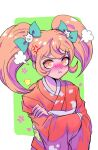 1girl :t =3 anger_vein angry animal_print bangs bird_print blonde_hair blush bow cat_hair_ornament closed_mouth commentary_request crossed_arms danganronpa_(series) danganronpa_2:_goodbye_despair frown furisode green_background green_bow hair_bow hair_ornament japanese_clothes kimono long_hair long_sleeves looking_at_viewer nose_blush obi orange_eyes orange_hair pout rexmmik saionji_hiyoko sash shiny shiny_hair solo twintails upper_body v-shaped_eyebrows white_background wide_sleeves