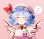 1girl 60mai ^_^ bangs baskin-robbins bat_wings blue_hair blush closed_eyes commentary_request eating eyebrows_visible_through_hair facing_viewer fang fang_out food hair_between_eyes hat ice_cream medium_hair mob_cap musical_note puffy_short_sleeves puffy_sleeves remilia_scarlet short_sleeves single_wrist_cuff smile solo spoken_musical_note spoon touhou upper_body wings