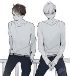 2boys belt belt_buckle black_pants brothers buckle expressionless eyebrows_visible_through_hair greyscale haikyuu!! hands_in_pockets highres interlocked_fingers long_sleeves male_focus miya_atsumu miya_osamu monochrome multiple_boys on_railing own_hands_together pants short_hair siblings sitting_on_railing sleeves_past_wrists smile sweater twins yasai_(getsu)