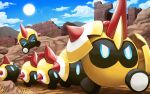 >_< blue_eyes clouds commentary_request day falinks gen_8_pokemon hakuginnosora highres lens_flare no_humans outdoors pokemon pokemon_(creature) ruins sky spikes standing sun walking