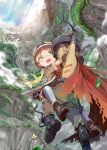 1boy 1girl bird blonde_hair boots bug cape carrying commentary_request dragonfly floating_hair glasses gloves green_eyes helmet highres insect light_rays low_twintails made_in_abyss mikazuki_akira! nature open_mouth pants regu_(made_in_abyss) riko_(made_in_abyss) scenery sunbeam sunlight tongue twintails upper_teeth whistle yellow_eyes
