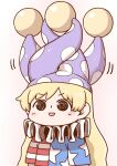 1girl american_flag_dress blonde_hair clownpiece hat jester_cap long_hair neck_ruff open_mouth poronegi red_eyes short_sleeves solo star_(symbol) striped touhou very_long_hair