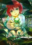 1girl :d absurdres akagami_no_shirayukihime book bookmark commentary_request flower glowing green_eyes highres holding holding_book leaf mikazuki_akira! open_mouth plant redhead shirayuki_(akagami_no_shirayukihime) short_hair smile solo