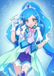 1girl ascot blue_background blue_dress blue_eyes blue_footwear blue_neckwear blue_theme blue_vest cowboy_shot cure_fontaine dated dress earrings eyebrows forehead gloves hair_ornament healin'_good_precure heart heart_hair_ornament jewelry long_hair looking_at_viewer magical_girl messy_hair open_mouth pom_pom_(clothes) pom_pom_earrings precure sawaizumi_chiyu smile solo sparkle_background split_ponytail stethoscope teketeke very_long_hair vest white_gloves