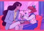 1boy 1girl bangs bishoujo_senshi_sailor_moon blush bow brown_hair buttons chair chocolate commentary_request crossed_legs feeding glass green_bow hair_bow holding holding_spoon jacket letterboxed long_hair long_sleeves nanaban_zenryoku nephrite_(sailor_moon) oosaka_naru open_mouth pants parfait purple_jacket sailor_collar school_uniform shirt sitting skirt spoon table teeth yellow_shirt