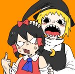 <o>_<o> 2girls anger_vein ascot bangs black_hair black_headwear black_vest blue_neckwear blush bow bseibutsu cookie_(touhou) crescent crescent_pin detached_sleeves gogogo_(cookie) hair_bow hair_tubes hakurei_reimu hand_on_another's_head hat kirisame_marisa long_sleeves looking_at_another looking_back middle_finger multiple_girls nontraditional_miko open_mouth orange_background red_bow red_shirt ribbon-trimmed_sleeves ribbon_trim sharp_teeth shirt short_hair simple_background sleeveless sleeveless_shirt teeth togashi_(cookie) touhou upper_body vest white_shirt witch_hat
