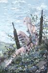 1girl asymmetrical_legwear babydoll bandaged_arm bandaged_leg bandages bangs bird blue_flower braid breasts cleaver closed_mouth flower gloves grey_eyes hair_flower hair_ornament high_heels highres kaine_(nier) knee_up lingerie long_hair looking_afar looking_away lunar_tear nature negligee nier nier_(series) plant ribbon rokojii scenery simple_background single_braid single_thighhigh sitting sky solo standing strap sword thigh-highs underwear weapon white_flower white_hair