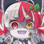 1girl :d ahoge bangs bare_shoulders black_bow bow claw_pose commentary eyebrows_visible_through_hair fangs grey_background hair_bow hands_up heart heterochromia hololive hololive_indonesia kureiji_ollie multicolored_hair open_mouth outline red_eyes redhead rutorifuki smile solo stitched_face stitches two-tone_hair virtual_youtuber white_hair white_outline yellow_eyes