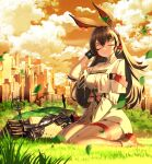 1girl absurdres animal_ears april_(arknights) arknights bangs black_hair bow_(weapon) city closed_eyes clouds compound_bow dress grass hand_up highres infection_monitor_(arknights) leaf long_hair orange_sky outdoors rabbit_ears shoes short_dress sitting sky smile solo thigh_strap thighs wanshuibaipo wariza weapon white_dress