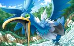 bird clouds commentary_request cramorant day gen_8_pokemon grass green_eyes hakuginnosora highres no_humans open_mouth outdoors pokemon pokemon_(creature) sky solo standing standing_on_one_leg tongue tree wading water water_drop