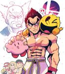 >_o ... 6+boys absurdres anger_vein black_eyes black_gloves black_hair blonde_hair boxing_gloves closed_mouth facial_hair fatal_fury frown gloves hat headband heterochromia highres holding ken_masters kirby kirby_(series) long_hair male_focus mishima_heihachi mishima_kazuya multiple_boys muscular muscular_male mustache one_eye_closed open_mouth pac-man pac-man_(game) rariatto_(ganguri) red_eyes red_gloves ryu_(street_fighter) scar scar_on_arm scar_on_chest shirt shirtless simple_background snk spiky_hair spoken_ellipsis street_fighter super_smash_bros. sweat tekken terry_bogard the_king_of_fighters thick_eyebrows thumbs_up white_background