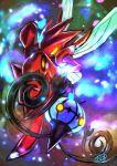 blue_fire chandelure commentary_request fire gen_2_pokemon gen_5_pokemon glowing glowing_eyes kaosu_(kaosu0905) no_humans pincers pokemon pokemon_(creature) scizor shiny signature yellow_eyes