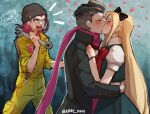 1girl 2boys bangs barry_nah black_coat black_hair blonde_hair blurry blurry_foreground blush bow bracelet braid coat collared_shirt crying danganronpa_(series) danganronpa_2:_goodbye_despair earrings english_text french_braid grey_hair hair_bow heart highres holding holding_wrench hug jewelry jumpsuit kiss long_hair medium_hair meme multicolored_hair multiple_boys notice_lines open_mouth pink_eyes pink_hair pink_scarf puffy_short_sleeves puffy_sleeves red_bow scarf shirt short_hair short_sleeves shouting smile sonia_nevermind souda_kazuichi tanaka_gandamu tears tools very_long_hair wrench yellow_jumpsuit