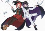 1boy 1girl :d bangs bird black_cape black_footwear black_jacket black_legwear brown_vest buttons cape cape_lift collared_shirt commentary_request confetti danganronpa_(series) danganronpa_v3:_killing_harmony double-breasted dove grin hair_ornament hand_up hands_together hat highres holding holding_wand invisible_chair jacket jazy lifted_by_self long_sleeves looking_at_another miniskirt open_mouth ouma_kokichi pants pantyhose peaked_cap purple_hair red_cape red_eyes red_headwear red_skirt redhead shirt shoes short_hair simple_background sitting skirt smile straitjacket vest violet_eyes wand white_background white_jacket white_pants white_shirt witch_hat yumeno_himiko