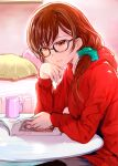 1girl aqua_scrunchie bed brown_hair commentary_request cup glasses hair_ornament hair_scrunchie hand_on_own_cheek hand_on_own_face highres hood hoodie kanojo_okarishimasu magazine mikazuki_akira! mug open_magazine pillow red_hoodie scrunchie sitting solo table