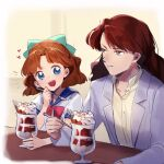 1boy 1girl :d bangs bishoujo_senshi_sailor_moon blue_eyes blue_sailor_collar bow brown_hair buttons chocolate closed_mouth commentary_request eyelashes green_bow grey_eyes hair_bow hand_up heart highres holding holding_spoon jacket long_hair long_sleeves namazu_(dc_27546) nephrite_(sailor_moon) oosaka_naru open_clothes open_jacket open_mouth parfait sailor_collar school_uniform shirt short_sleeves smile spoon table upper_teeth white_shirt yellow_shirt