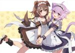 2girls :3 :d ahoge alternate_costume animal_ears apron bangs black_dress black_legwear blush bone_hair_ornament brown_dress brown_eyes brown_footwear brown_hair cartoon_bone cat_ears cat_girl cat_tail closed_mouth commentary_request dog_ears dog_girl dog_tail dress enmaided eyebrows_visible_through_hair fang feet_out_of_frame frilled_dress frills hair_between_eyes hair_ornament holding_hands hololive inugami_korone kneehighs maid maid_day maid_headdress multiple_girls nail_polish nekomata_okayu open_mouth outstretched_arm purple_hair purple_nails shadowsinking shoes smile standing standing_on_one_leg tail violet_eyes white_apron wrist_cuffs yellow_nails