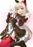 1girl :d animal_ears bangs bare_shoulders black_footwear black_jacket blush boots bow breasts brown_hair commentary_request curren_chan_(umamusume) dress ear_bow eyebrows_visible_through_hair frilled_jacket gloves hands_up highres horse_ears horse_girl horse_tail jacket medium_breasts off-shoulder_jacket open_mouth pilokey red_bow red_legwear smile solo striped tail thigh-highs thighhighs_under_boots umamusume upper_teeth vertical-striped_dress vertical_stripes violet_eyes white_dress white_gloves