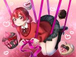 1girl aho_no_sakata candy chocolate chocolate_heart cupcake food hatoka_ra5 heart highres red_eyes redhead ribbon sakako_(aho_no_sakata) shirt urashimasakatasen valentine